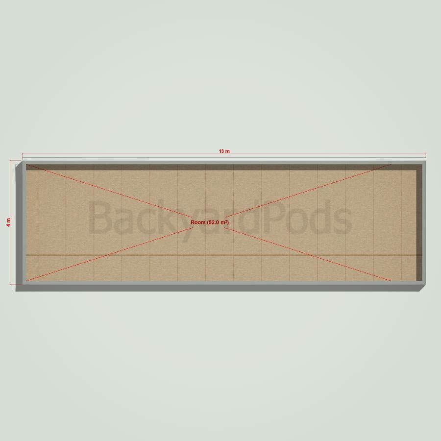 Basic backyard pod kit 4m x 13m flat-pack