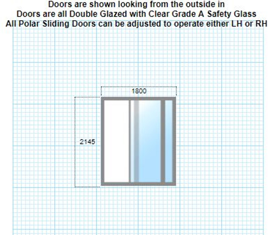 Double-glazed sliding door 2145mm x 1800mm + lock/keys + reveal + LH/RH/colour/flyscreen/frosting options