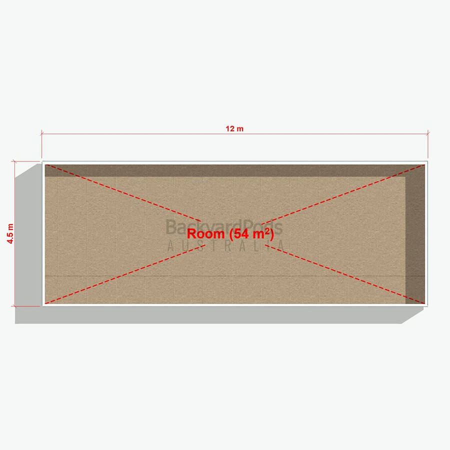Basic backyard pod kit 4.5m x 12m flat-pack