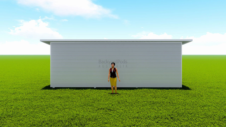 Basic backyard pod kit 4.5m x 8m flat-pack with eaves