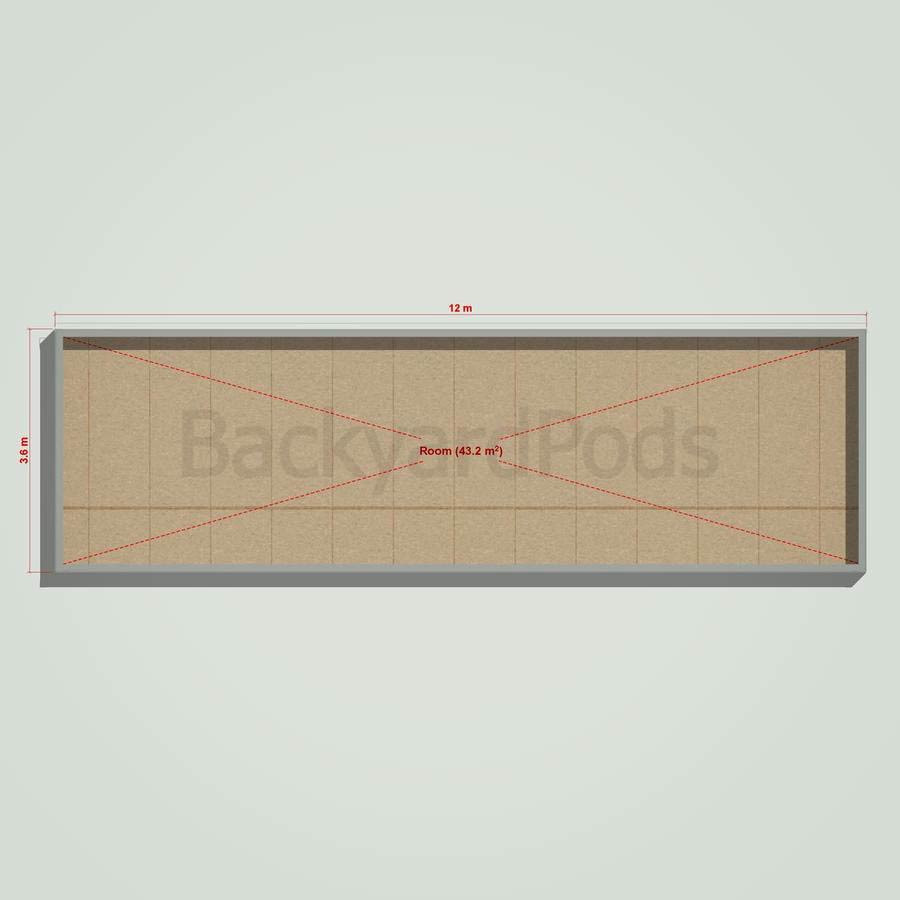 Basic backyard pod kit 3.6m x 12m flat-pack with eaves