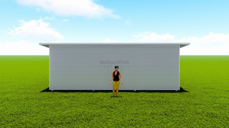 Basic backyard pod kit 2.5m x 8m flat-pack with eaves