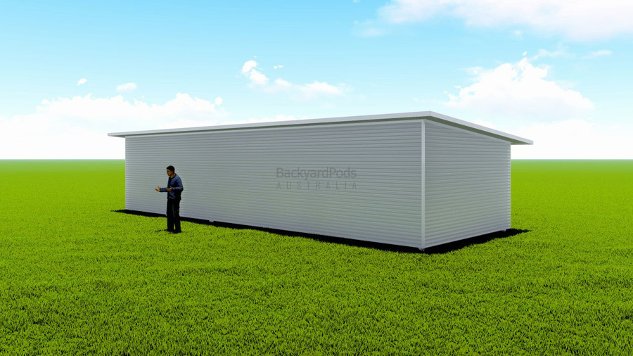 Basic backyard pod kit 4.5m x 13m flat-pack with eaves
