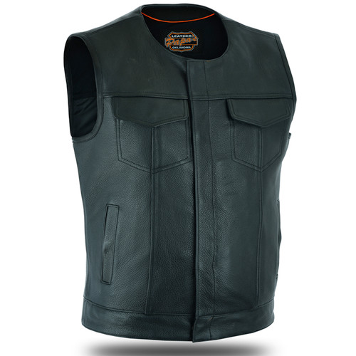 Collarless Club Vest Full Grain Naked Leather