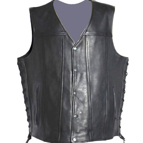 Motorcycle Vest Full Grain Naked Leather