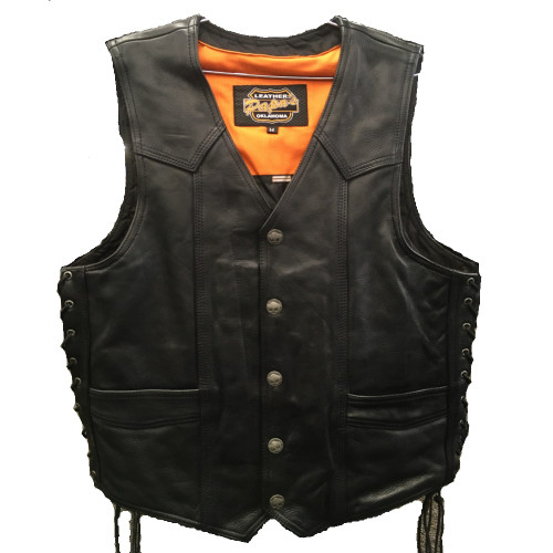 Traditional Motorcycle Vest Full Grain Naked Leather Slot Pockets