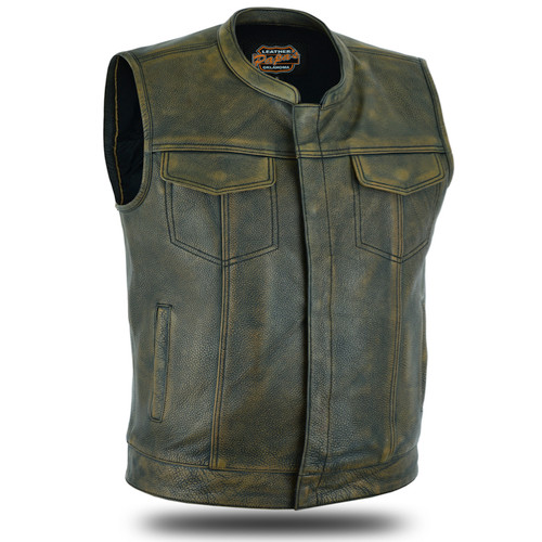 Club Vest Full Grain Naked Leather Zip/Snap