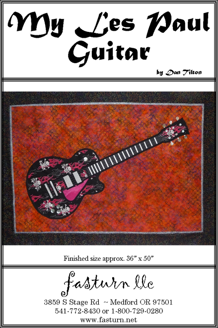 This design is a reproduction one of my favorite Les Paul Guitars. This fast & easy stained glass pattern uses fusible appliqué & fabric tubes for the leading lines. We added shell button for the Anchor Pegs, Knobs, Toggle & Tuning Pegs.