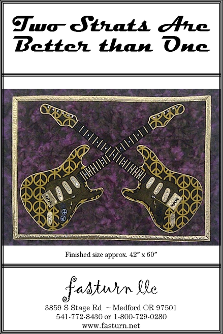 This design is a reproduction of my Fender Stratocaster Guitar. This fast & easy stained glass pattern uses fusible applique & fabric tubes for the leading lines. We added loads of crystals for added bling!