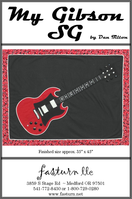 This design is a reproduction of my Gibson SG. This fast & easy stained glass pattern uses fusible applique, fabric tubes and micro piping for the lead lines. Your guitar lover will love this one!