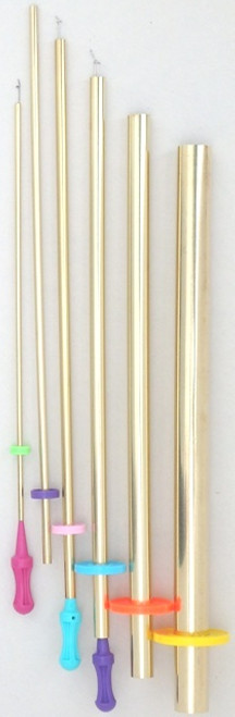 "F-1 Set proudly made in the US by us!  6 Brass Tubes with 3 Pull Wires  #6 Brass Tube 3/4"" dia. Finished tube width 1 1/8""; uses largest pull wire with purple handle. #5 Brass Tube 1/2"" dia. Finished tube width 13/16""; uses largest pull wire with purple handle. #4 Brass Tube 3/8"" dia. Finished tube width 1/2""; uses largest (purple) and middle size pull wire with teal or blue handle. #3 Brass Tube 1/4"" dia. Finished tube width 3/8""; uses middle size pull wire with teal or blue handle. #2 Brass Tube 3/16"" dia. Finished tube width 5/16""; uses middle size pull wire with teal or blue handle. #1 Brass Tube 1/8"" dia. Finished tube width 3/16""; uses smallest pull wire with pink handle."