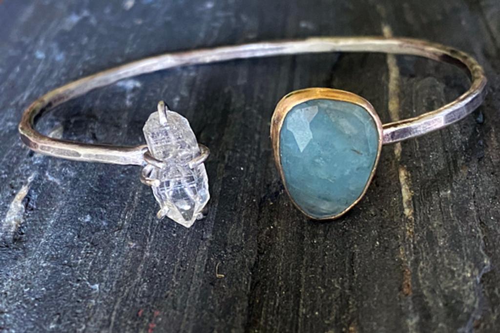 Aquamarine and herkimer Diamond Open Cuff Bracelet