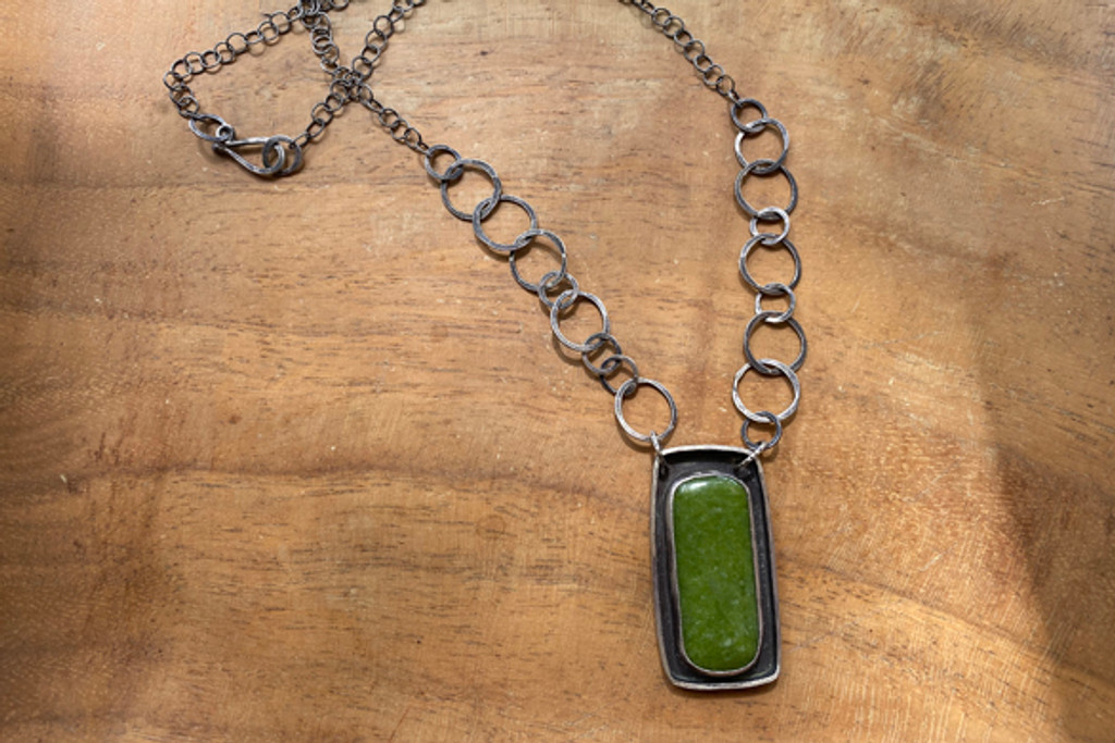 Olive Jade Moat Necklace with hand forged chain