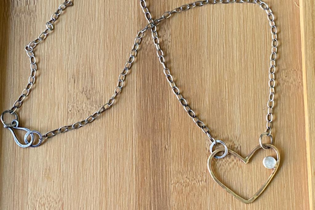 Love Jones Big Heart Necklace with Rainbow Moonstone