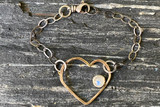 Love Jones Big Heart Bracelet with Rainbow Moonstone