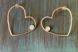 Love Jones Big Heart Hoop Post Earrings with Rainbow Moonstone