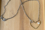 Love Jones Big Heart Necklace with Rainbow Moonstone