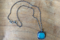 Square Chalcedony Halo Necklace