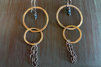 Blue Diamond Chain Hoops