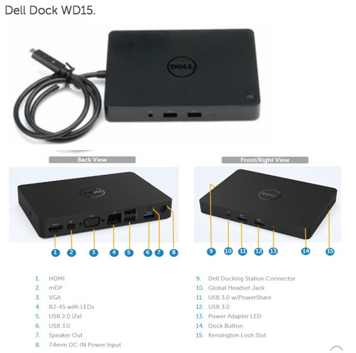 Dell WD15 4K Docking Station USB-C 5FDDV