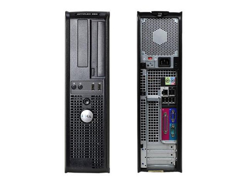 Dell OptiPlex 380 DT Dual Core Windows 10 Computer front and back view