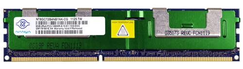 WWW.DISCOUNTELECTRONICS.COM NANYA 8GB 2RX4 PC3-10600R-9-10-E1 Size: 8GB Rank: Dual Rank Speed: 10600 Type: Registered Model: NT8GC72B4NB1NK-CG HP Part Number: 500205-071