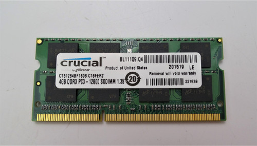 Crucial 4GB Single DDR3 PC3 12800 Soddim Laptop Memory