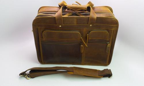 Leather Briefcase Crossbody Bag for Men & Women