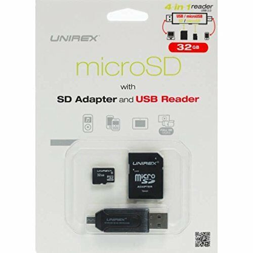 Unirex MicroSD High Capacity 32GB with SD Adapter and USB Reader