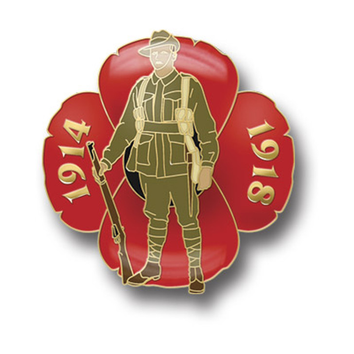 Great War Digger Poppy Badge on Card