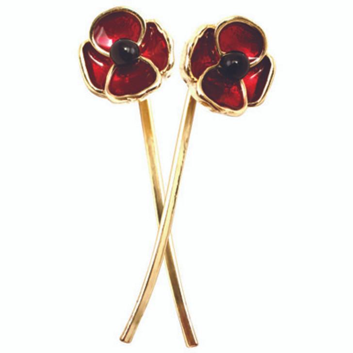 Gallipoli Centenary Poppy Stem Earrings