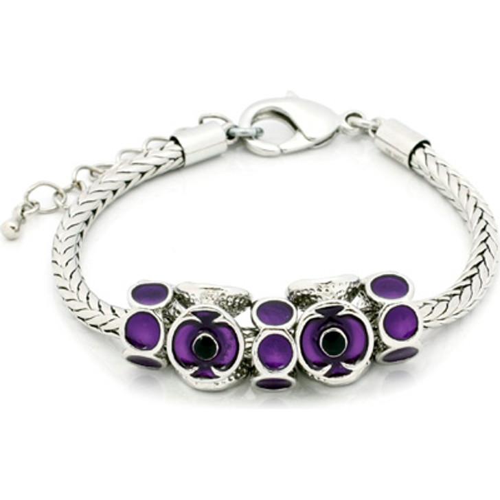 Purple Poppy Charms Bracelet