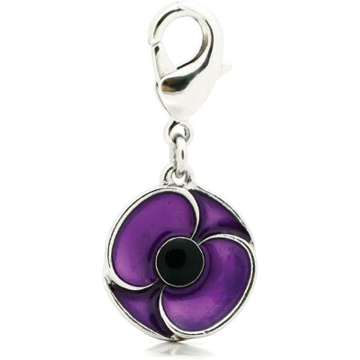 Purple Poppy Collar Charm
