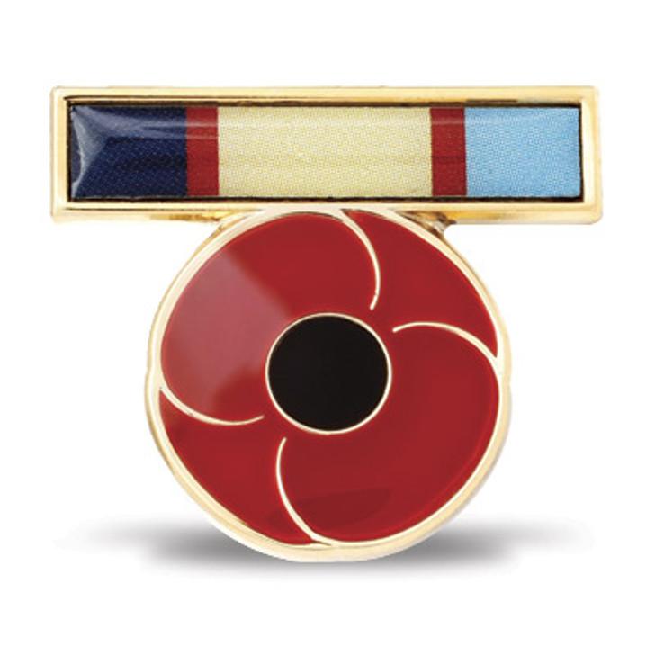 WW2 Ribbon Poppy Lapel Pin
