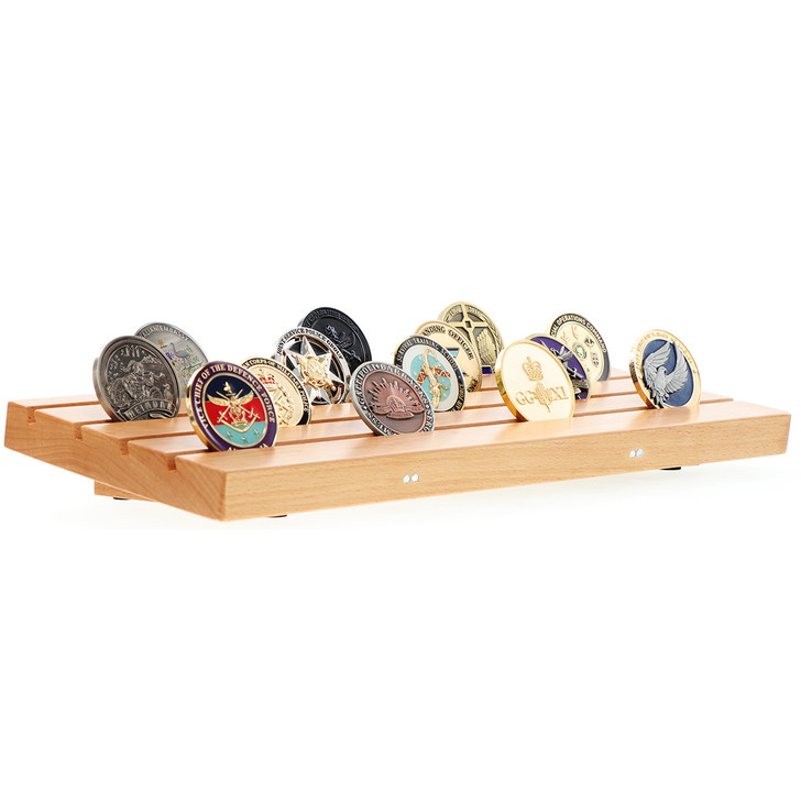 Solid Beech Challenge Coin Low-set Display Stand