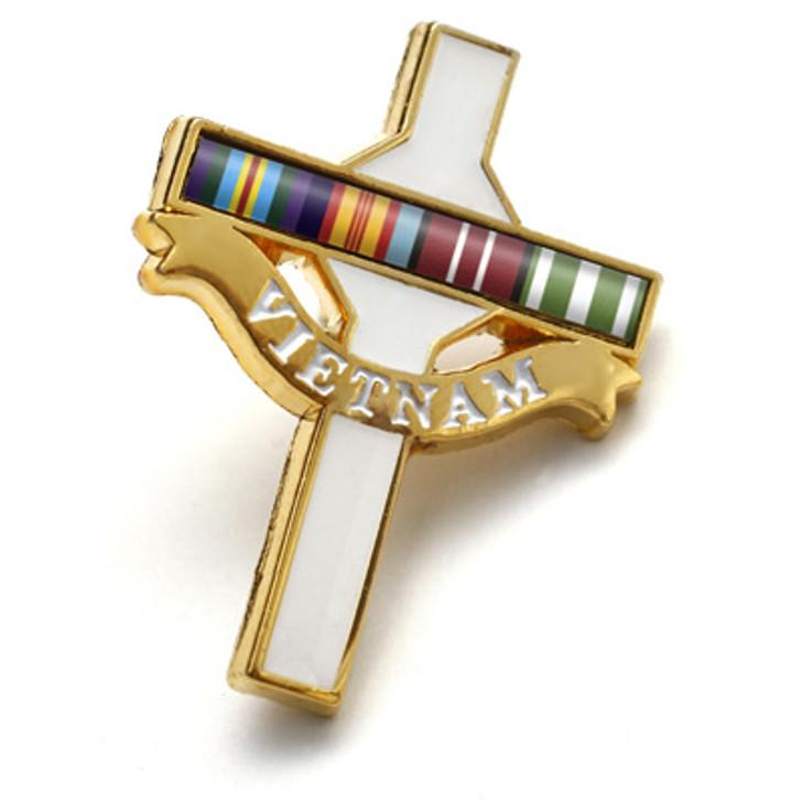 Long Tan Cross Lapel Pin On Card