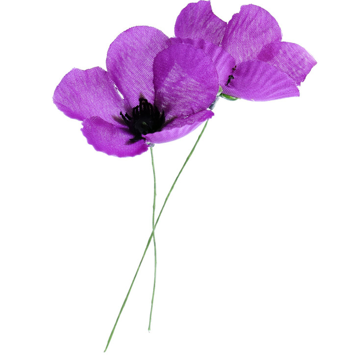 Purple Donation Fabric Poppy w/Wire Stem