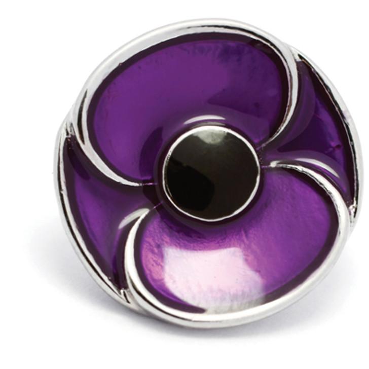 3D Purple Poppy Badge