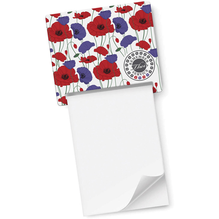 Remember Their Service Red & Purple Poppy Magnet Memo Pad