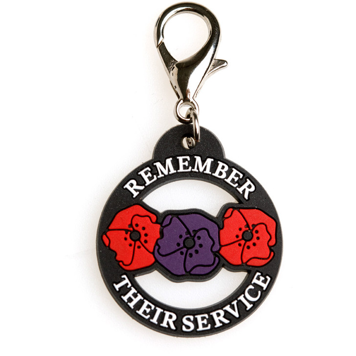 Remember Their Service Red & Purple Poppy PVC Pet Tag