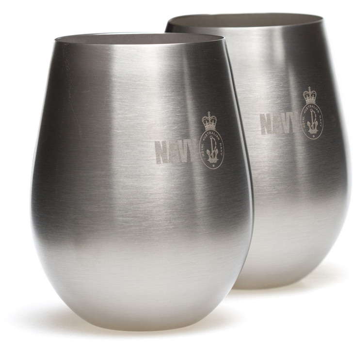 Navy  Stainless Steel Glass Set
