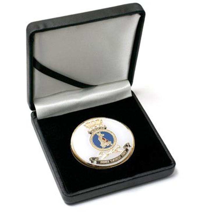 HMAS Melbourne Medallion In Case
