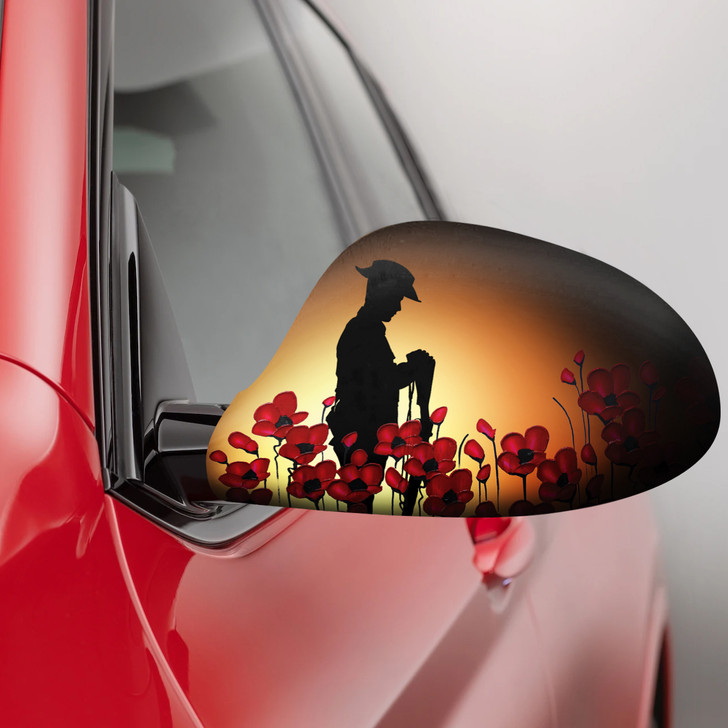 Poppy Recollections Fabric Car Mirror Covers