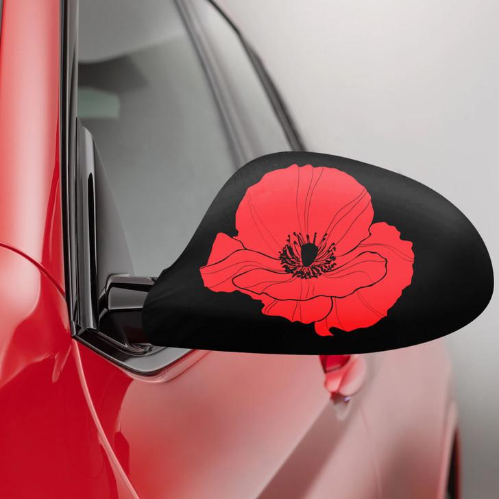 Poppy Fabric Car Mirror Covers