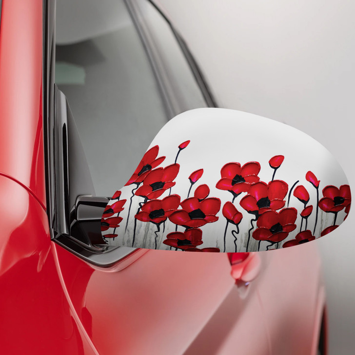 Poppy Mpressions Fabric Car Mirror Covers