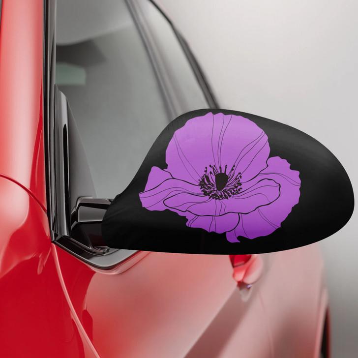 Purple Poppy Fabric Car Mirror Covers