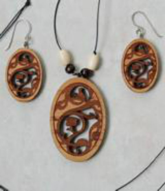 Laser cut and engraved in wood vine and flower beaded necklace and earrings.
