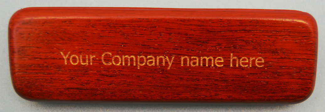 Laser Engraved Red Wood Finish Pen Box with Color Filled Text .