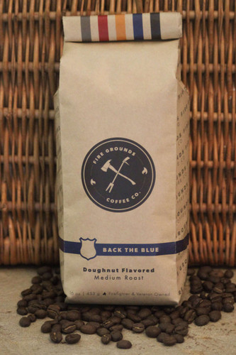 Back The Blue is our doughnut flavored medium roast coffee. Hints of jelly doughnut.