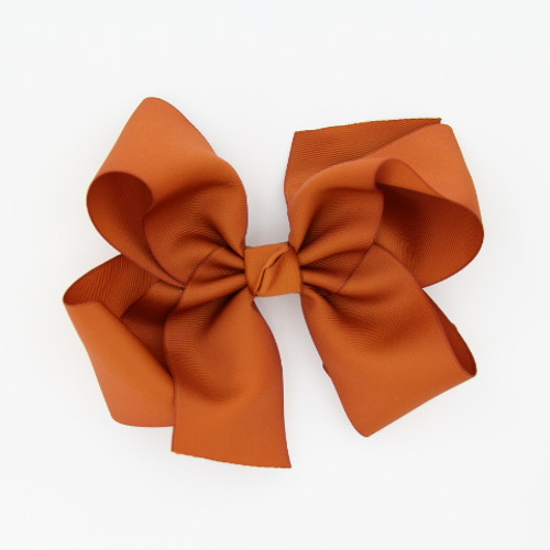 "Item no         : egch, Size              : 7.5""X6"" Color            : Burnt Orange Center          : Cone Ribbon Size : 2 1/4""  Type of Clip : French Clip   Made in USA"